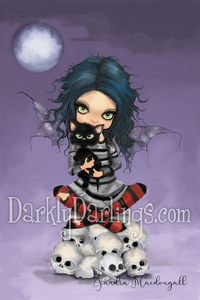 Creepy cute goth girl with striped stockings, a black cat, and skulls