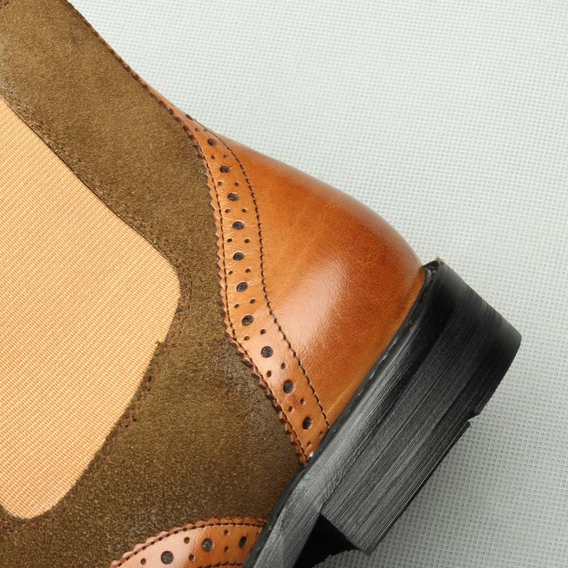Wingtip Suede Stretch Gusset  - Tan