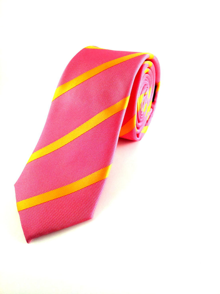 Pink with Diagonal Yellow Stripes Skinny Tie