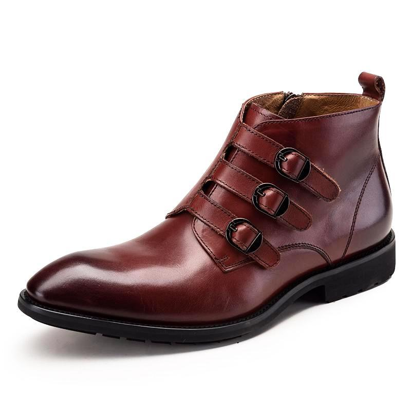 Triple Monk Strap Boots - Brown/Black