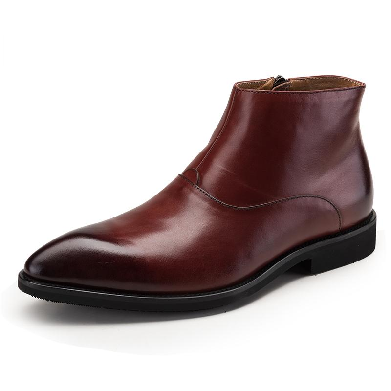 Plain Toe With Side Zib Boots - Black/Brown