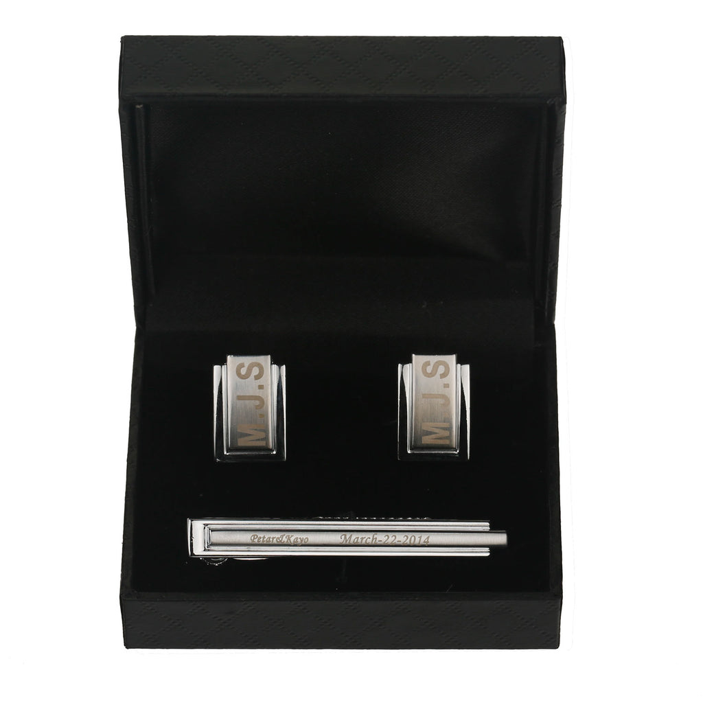Engraved Embossed Boxed Design Silver Cuff-links & Tie Bar Set