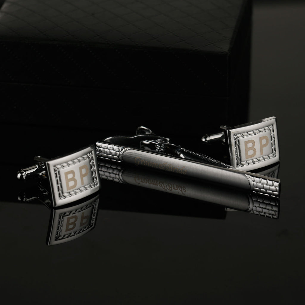 Engraved Personalised Striped Design Silver Cuff-links & Tie Bar Set