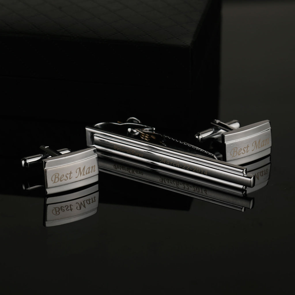 Embossed Engraved Personalised Boxed Design Silver Cuff-links & Tie Bar Set