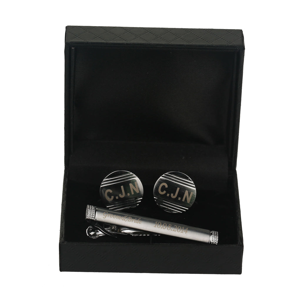 Round Lined Matte Embossed Personalised Silver Cuff-links & Tie Bar Set