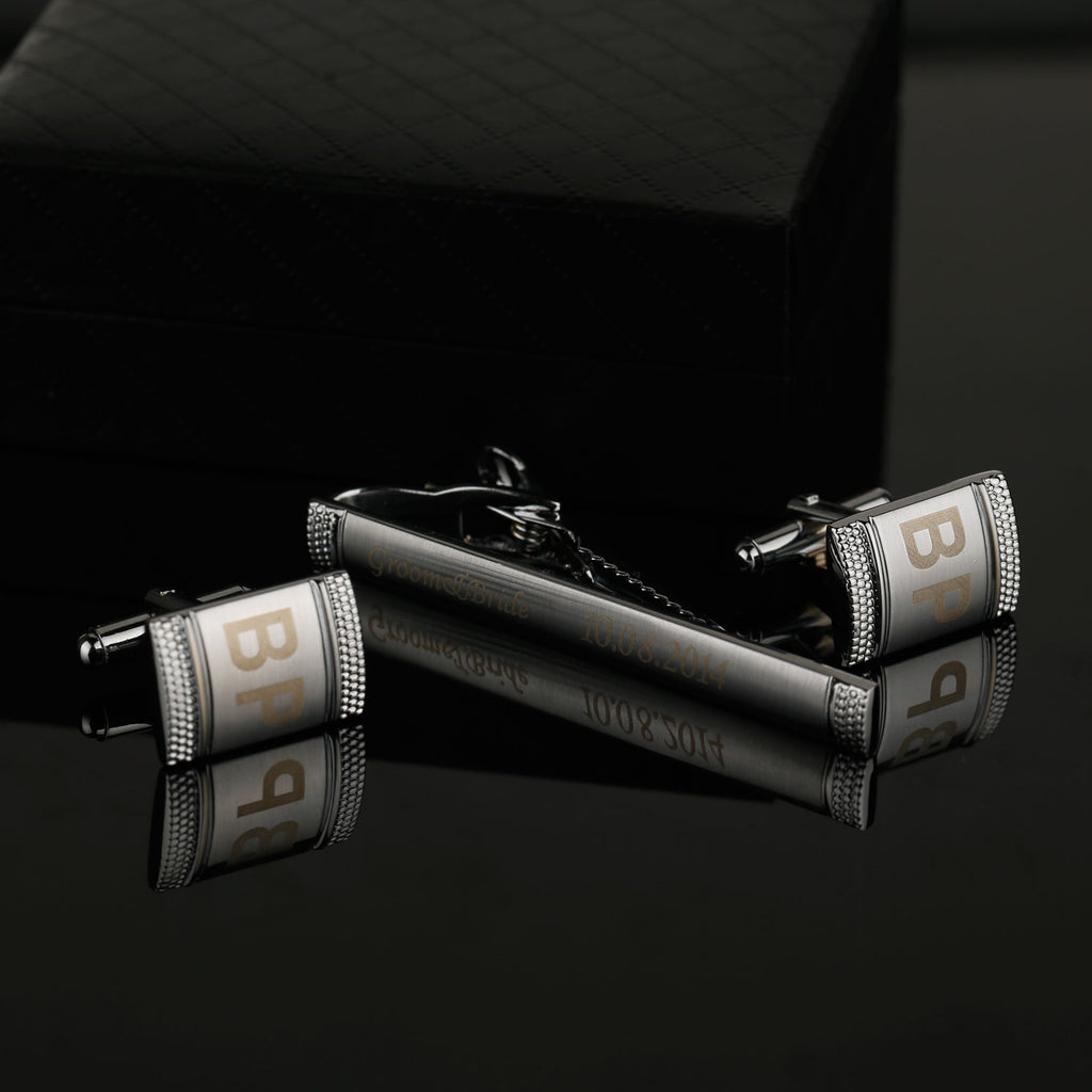 Gloss Striped Embossed Engraved Personalised Silver Cuff-links & Tie Bar Set