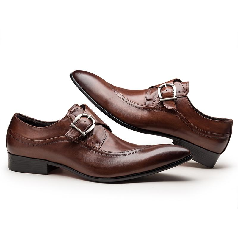 Single Monk Men's Shoes - Brown