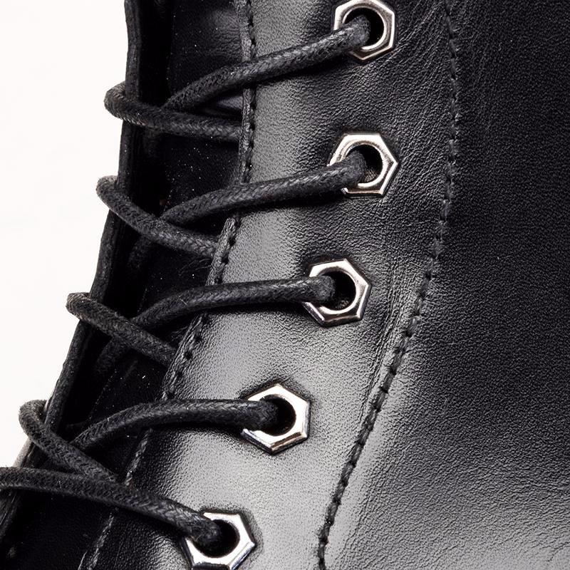 Derby Lace Up Boots - Black