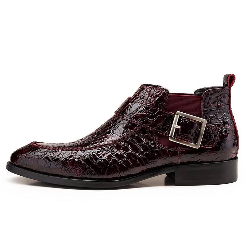 Crocodile Pattern Single Monk Boots - Black/Burgundy