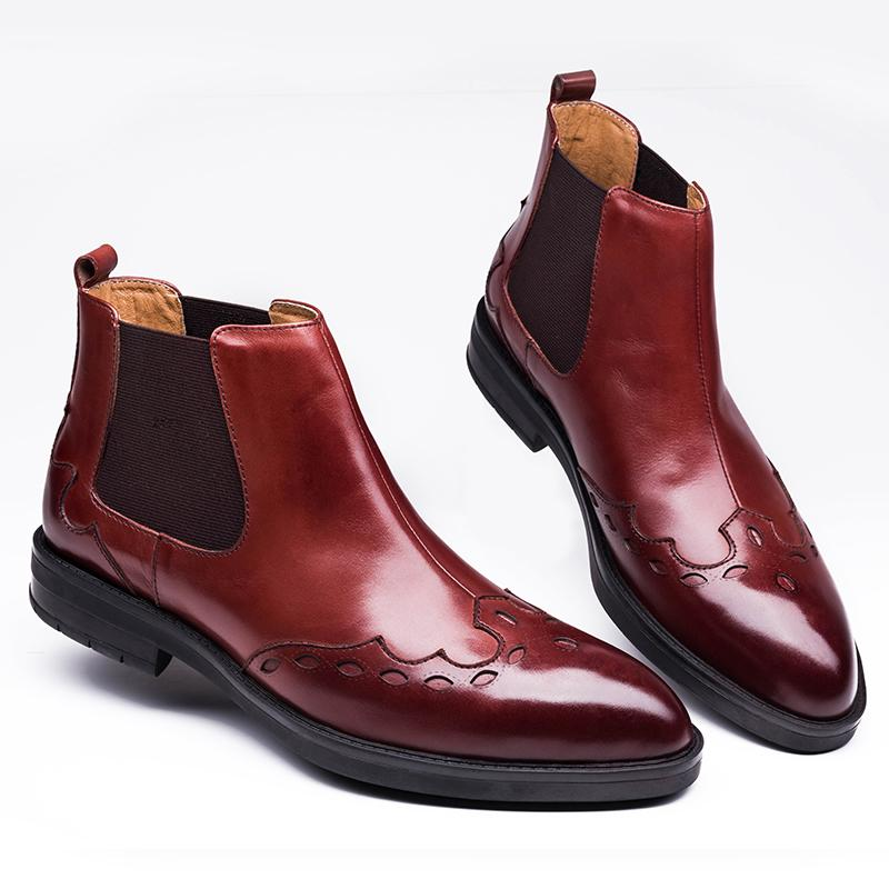 Stretch Gusset Wingtip Ankle Boots - Burgundy