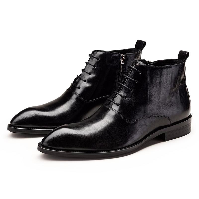 Wrinkled Leather Oxford Boots - Black