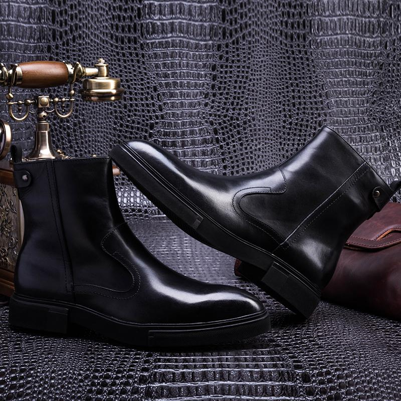 Plain Toe With Zib Boots - Brown/Black