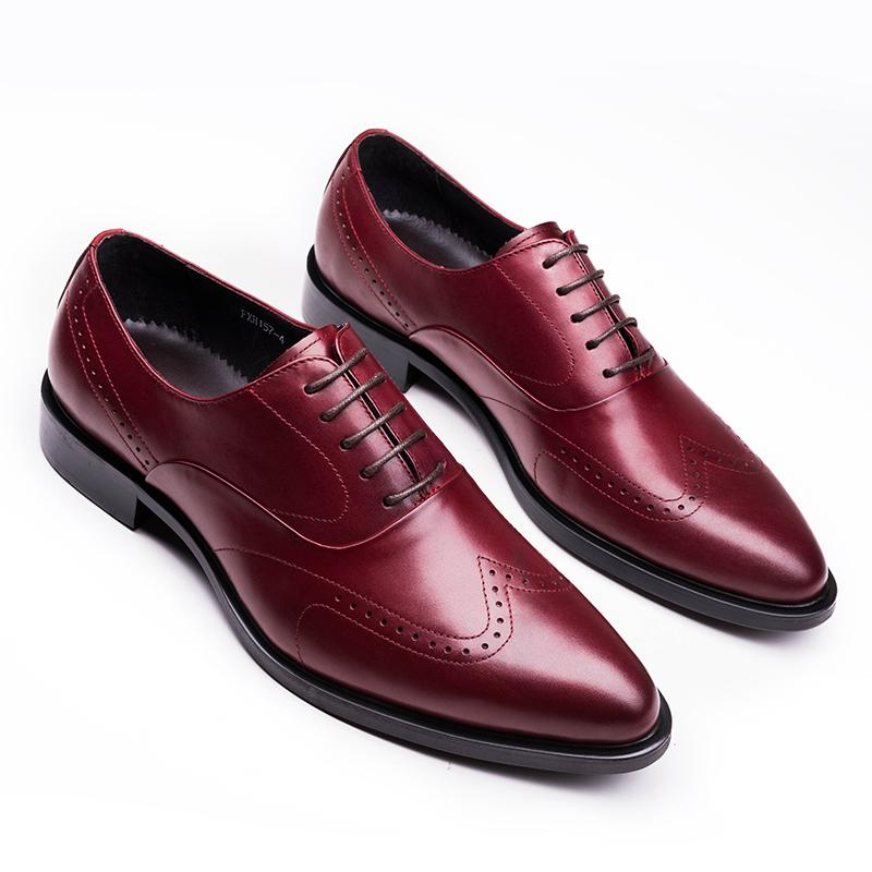 Wingtip Oxford Men's Shoes - Black/Burgundy