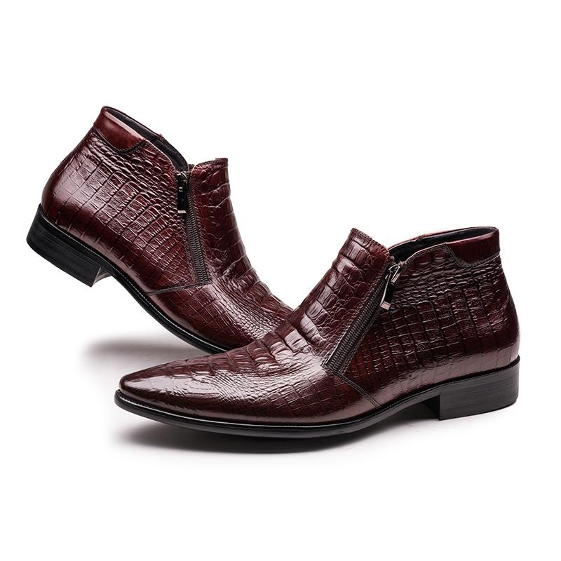 Crocodile Print Side Zip Boots - Black/Burgundy
