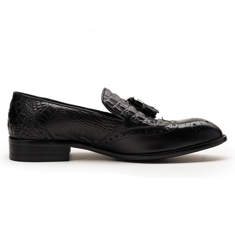 Tassel Loafer With Crocodile Pattern  - Brown/Black
