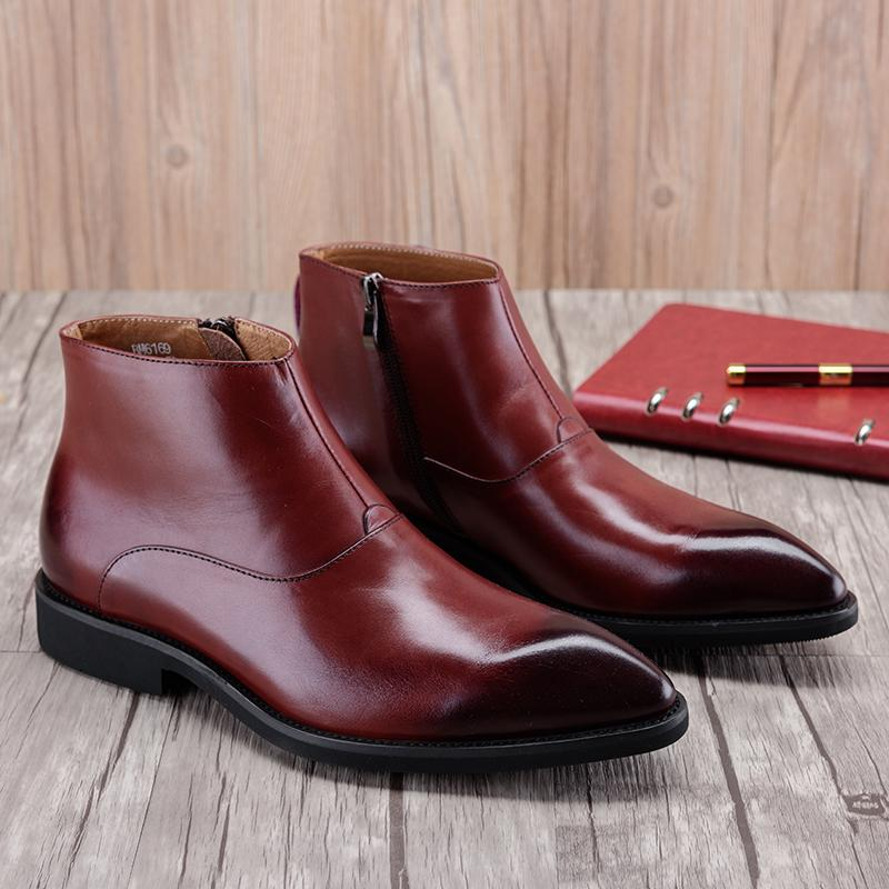 Plain Toe With Side Zib Boots - Brown/Black