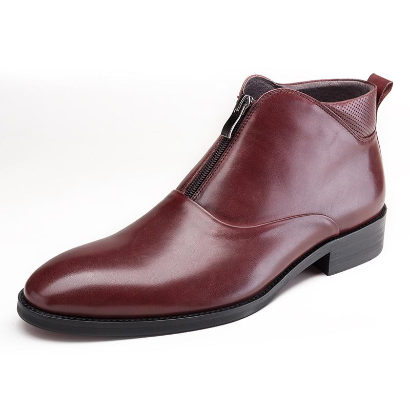 Plain Toed With Center Zip Boots - Burgundy/Black