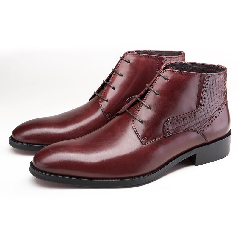 Plain Toes Derby Boots - Burgundy