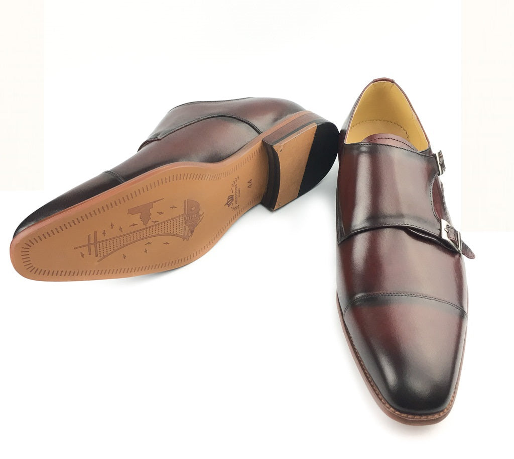 Midcap Toe Double Strap Monk - Wine