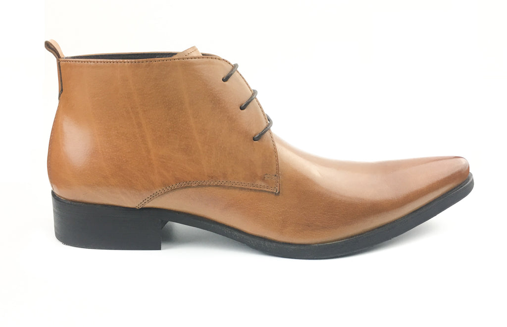 Pointed Toe Ankle Boots - Tan (Size 44)