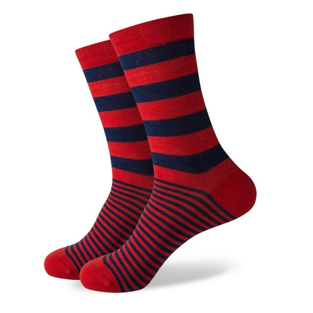 Red With Navy Blue Thick & Thin Stripes Socks