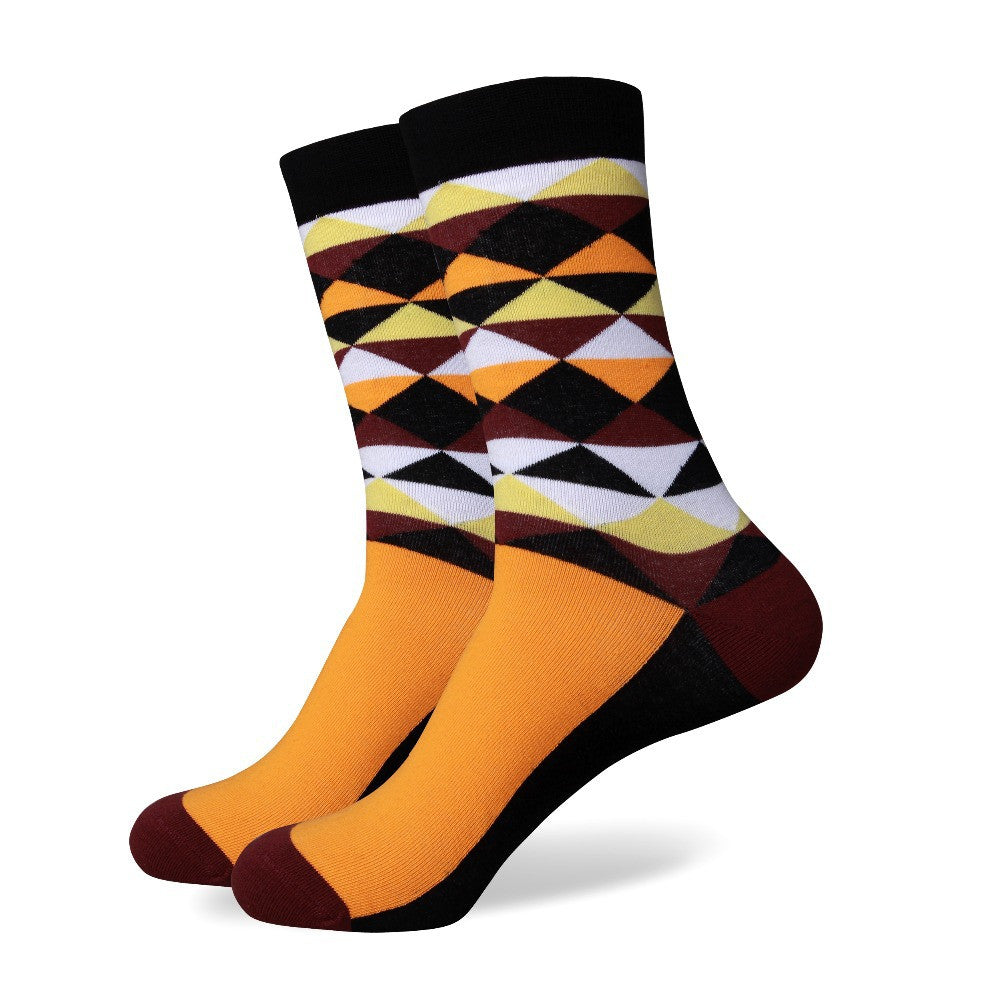 Orange Brown White Black Argyle Socks