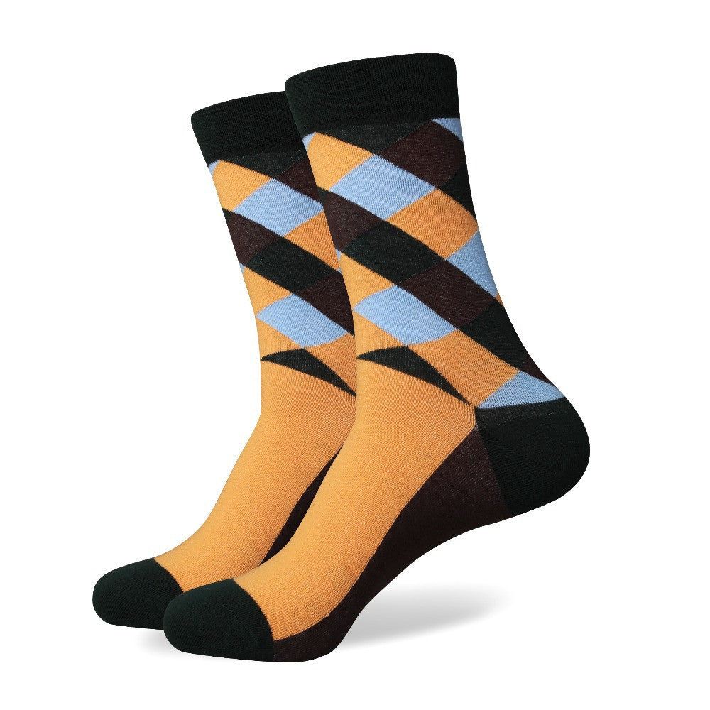Orange Brown Black Diamond Socks