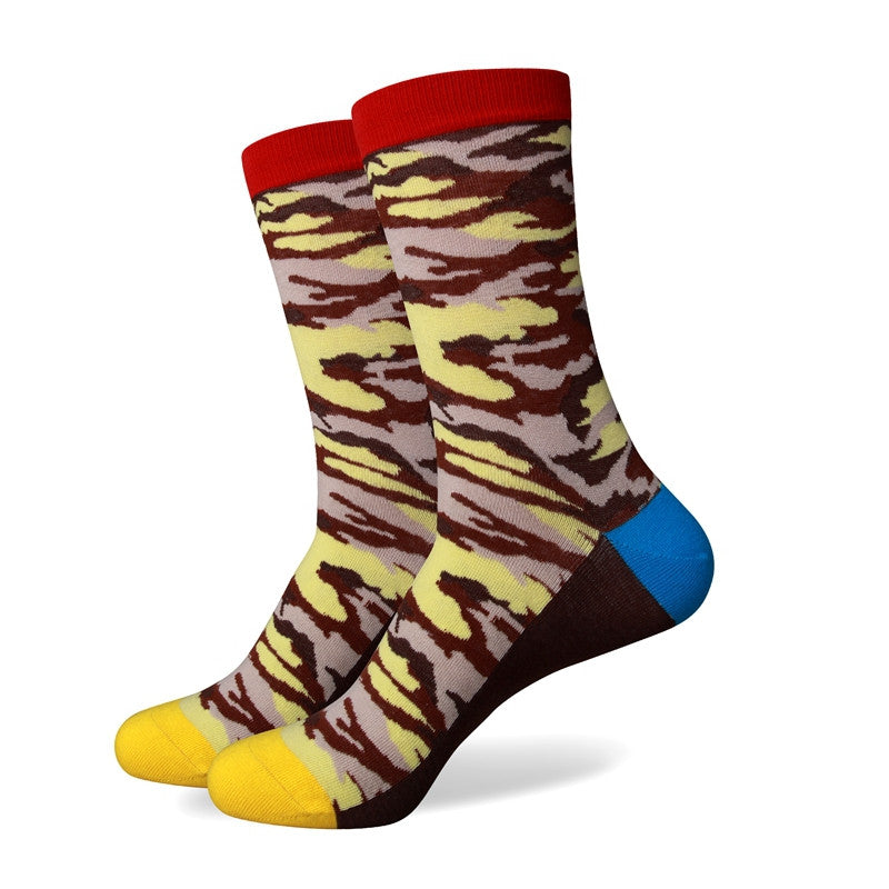 Yellow Brown Patterned Socks