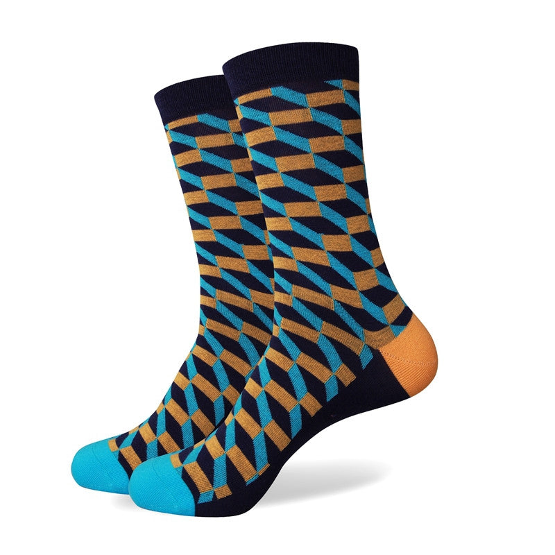 Blue Black White Patterned Socks