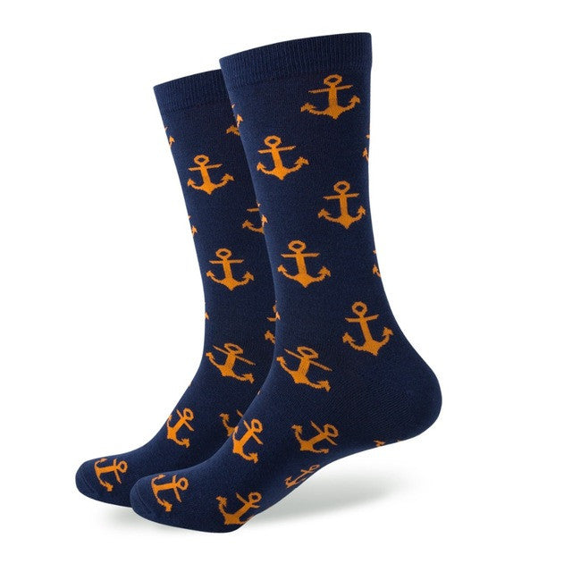 Navy Blue With Orange Anchor Socks