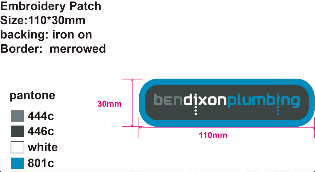 20 Custom Embroidery Patches for Ben Dixon Plumbing