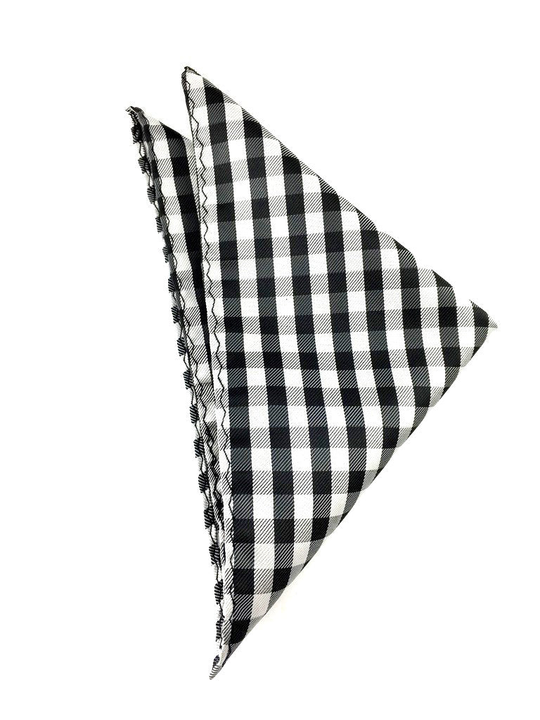 black check wedding hankie