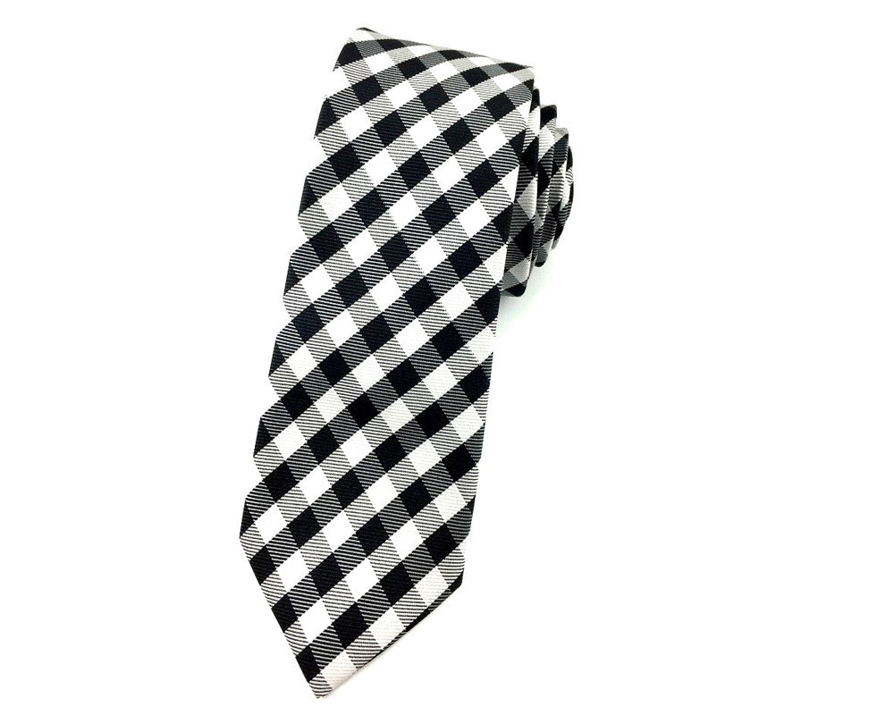 gingham slim ties