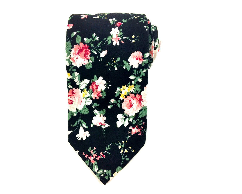 Black White Floral Cotton Necktie
