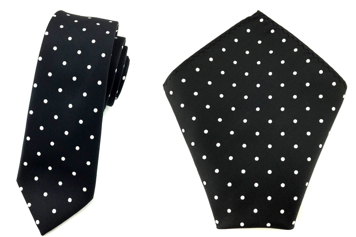 38849246e0aa Black With White Polka Dots Matching Skinny Tie & Pocket Square ...