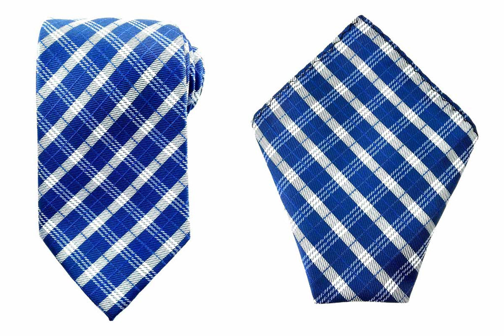 mens blue necktie pocket square