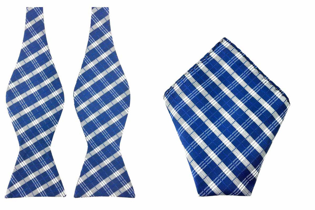 blue self tied bowtie hankie set