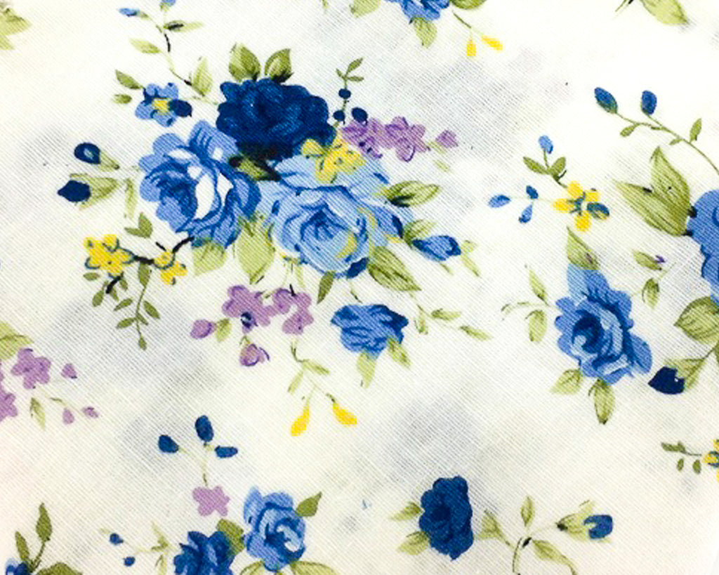 blue floral cotton swatch