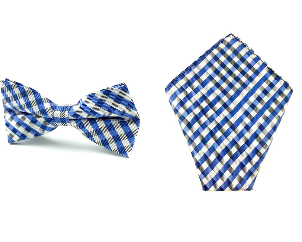 gingham bow tie and hankie set