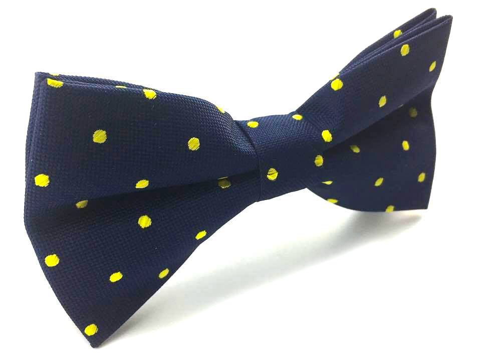 yellow dots pre-tied bowtie