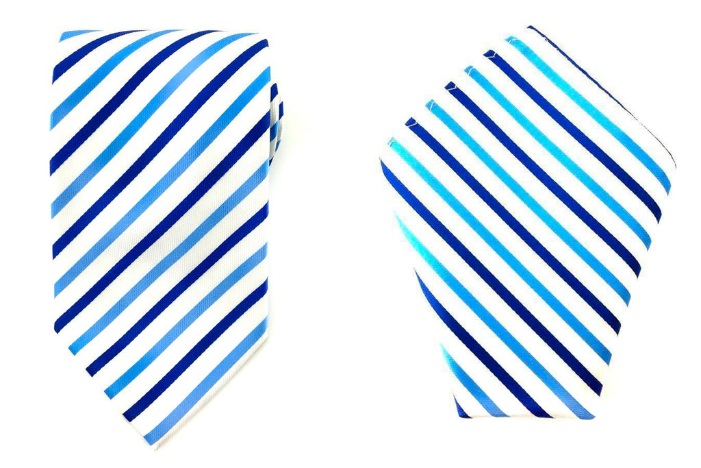blue stripe necktie hankies