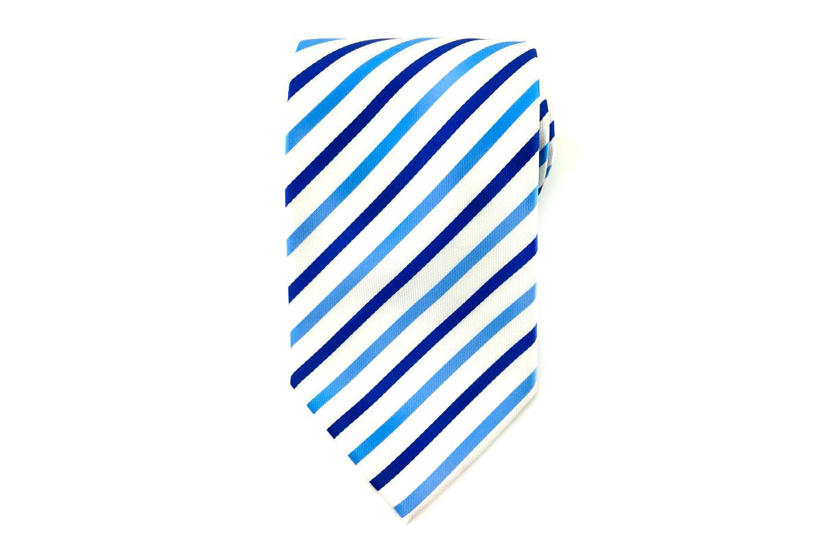 970306e81321 Light Blue Dark Blue and White Stripes Necktie | Groomsmen Wedding ...