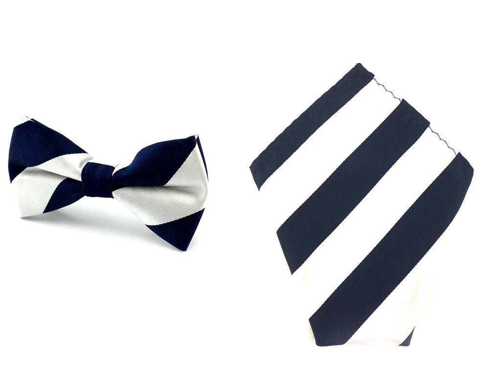 81c131ec7a63 Silver with Navy Blue Stripes Matching Bow Tie & Pocket Square Set ...