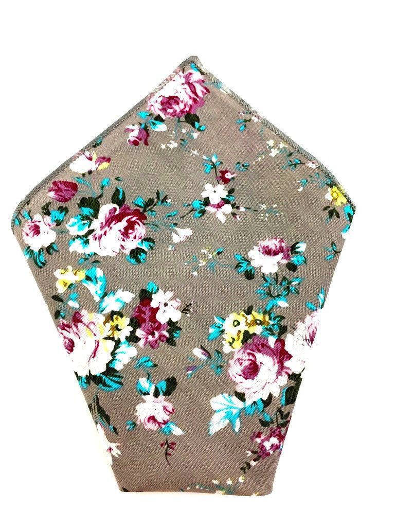 grey floral hankies