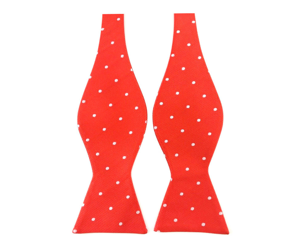 Red with White Polka Dots Self-Tied Bow Tie
