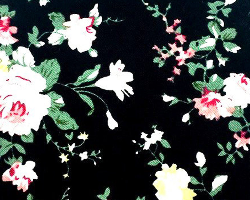 Black White Flowers Cotton Swatch