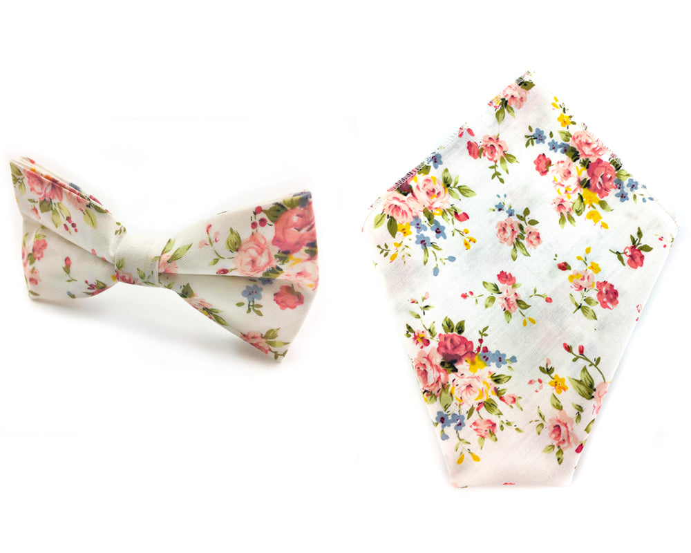 white red floral bowtie hankie set