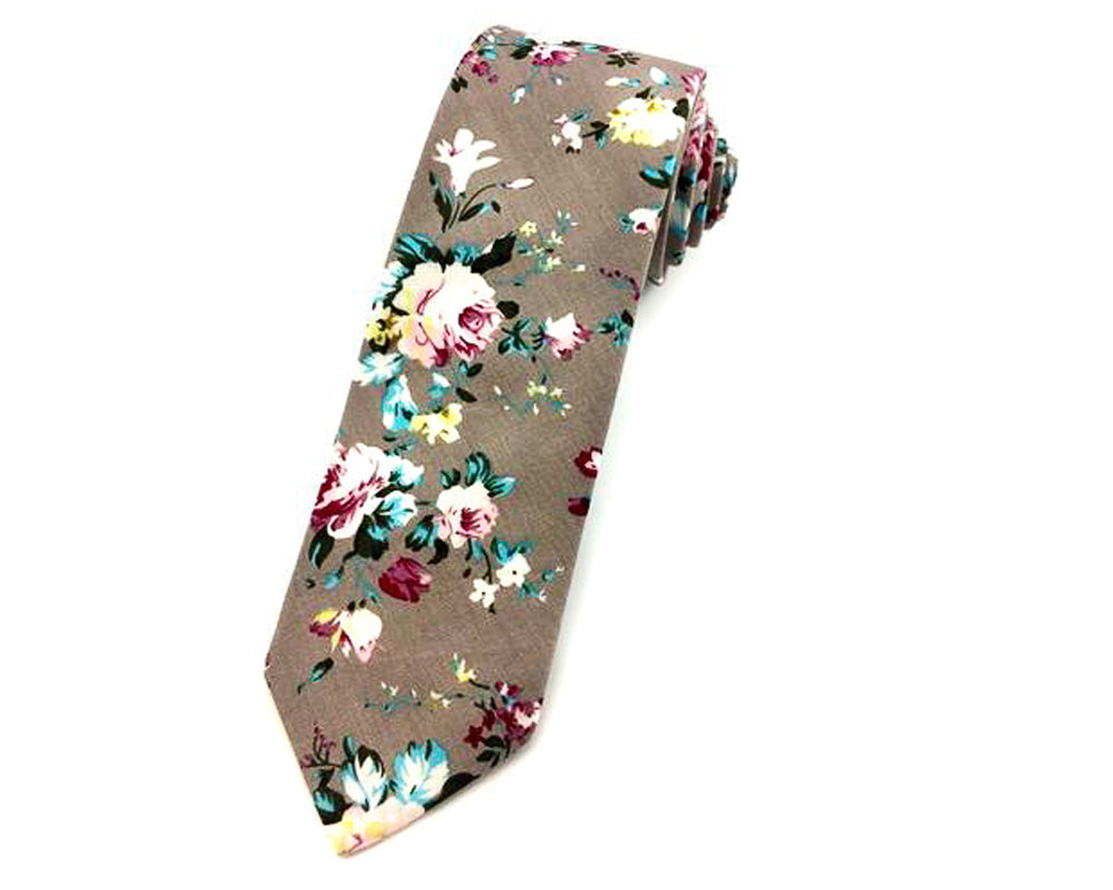 grey floral neckties