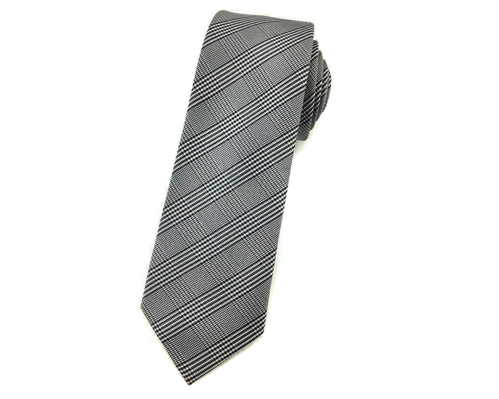 plaid slim necktie