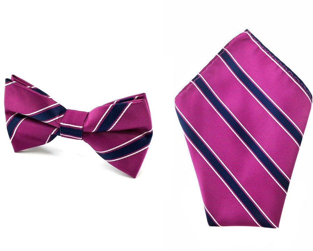 0748fae2102a Magenta With Black White Stripes Matching Bow Tie & Pocket Square ...